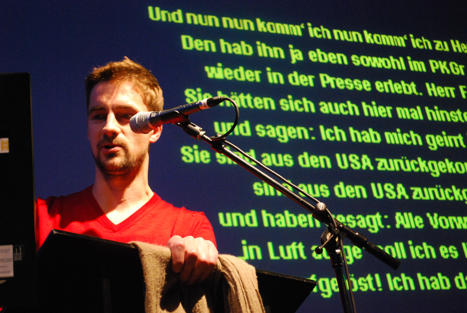 Politaoke at Netzkultur. A project by Diana Arce